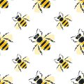Seamless Pattern With Bees Vector Illustration . For The Packaging Of Creams, Cosmetics, Food, Bee Venom To Treat. Royalty Free Stock Image - 108402966