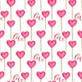 Seamless Pattern With Hearts In Pink Color . Cute Background In Watercolor. Valentines Day Print For Wrapping Paper, Backdrop Deco Royalty Free Stock Images - 108407059