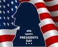 Happy Presidents Day In USA Background. George Washington Silhouette With Flag As Backround. Stock Image - 108456651