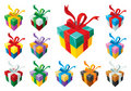 Gift Boxes Set Colorful Stock Photography - 10854382