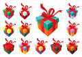 Gift Boxes Mix, With Red Ribbon Royalty Free Stock Images - 10857849