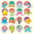 Family Of Monster With Background Royalty Free Stock Images - 10858499