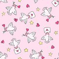 Hand Drawn Seamless Pattern With Birds And Hearts. Royalty Free Stock Photos - 108514308