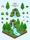 Isometric Simple Rocks Set - Coniferous Forest Rock Formation Stock Image - 108524621