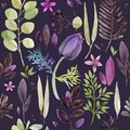 Watercolor Violet Flowers Seamless Pattern. Royalty Free Stock Image - 108565066