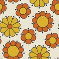 Retro Orange And Yellow Color 60s Flower Motif. Royalty Free Stock Images - 108569519