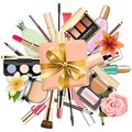 Vector Makeup Cosmetics With Gift Stock Images - 108574924