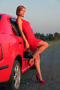 Lady In Red And Car Royalty Free Stock Image - 10861696