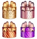 Gift Boxes With Bright Bows And Patterns Of Hearts And Stars Stock Photos - 108618723
