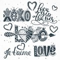 Set Of Love Quotes. Hand Drawn Lettering. Happy Valentine`s Day. Xoxo. Je T`aime. Freehand Style. Romantic Holiday Stock Photography - 108681012