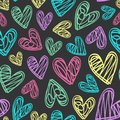 Seamless Pattern With Hearts On Black Background Royalty Free Stock Photography - 108691997