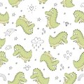 Cute Seamless Pattern With Funny Dinosaurs. Vector Illustration. Stock Photos - 108708103