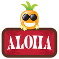 Isolated Pineapple With Red Aloha Sign Stock Image - 10883441
