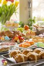 Table With Delicatessen Ready For Easter Brunch Stock Photography - 108874022