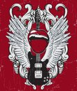 Vector Hand Drawn Illustration Of Guitar , Mouth, Wings And Frame . Stock Photography - 108887432