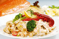 Craw Fish On The Top Of Pasta Royalty Free Stock Photos - 10900998