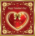 Happy Valentine`s Day. Valentine With Heart On A Red Background Stock Photography - 109030482