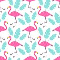 Cute Cartoon Pink Flamingos And Green Tropical Leaves Isolated On White Background. Vector Seamless Pattern Can Be Used For Poster Royalty Free Stock Images - 109039659