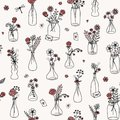 Seamless Flower Bouquet Pattern With Red Roses Stock Image - 109049641