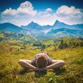 Young Red Hair Man Lying On A Hill Stock Photos - 109112773