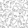 Vector Seamless Black And White Pattern Sketch Illustration Tea Brew Procedure Icons. Tea Making Instruction. Guidelines Stock Images - 109311684