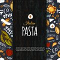 Italian Pasta Menu Design For Restaurant And Cafe. Template With Sketch Hand Drawn Spaghetti Pattern On Dark Chalkboard Royalty Free Stock Images - 109324539