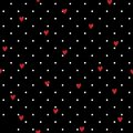Seamless Geometric Polkadot Pattern With Red Hand Drawing Hearts Stock Photo - 109325500
