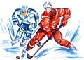 Two Sportsmen Hockey Players Fighting For The Puck At High Speed Stock Images - 109366394
