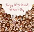 Happy International Women`s Day - Hand Drawn Doodle Faces Stock Photos - 109428533
