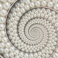 Pearls And Diamonds Jewels Abstract Spiral Background Pattern Fractal. Pearls Background, Repetitive Pattern. Abstract Pearl Backg Stock Photo - 109557620