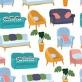 House Furniture Pattern Seamless, Background Home, Object Decoration, Sofa And Indoor, Vector Illustration Stock Photography - 109592572