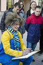 Street Artist Who Makes Portraits, Moscow, Russia Royalty Free Stock Photos - 109608438