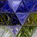 Pretty Triangle Purple, Green, Blue And White Background Effect Stained Glass Stock Image - 109632861