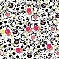 Cute Hand Drawn Panda With Hearts And Balloons Design Repeated Pattern Vector Royalty Free Stock Image - 109666136