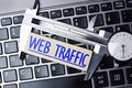 Web Analytics Concept, With Caliper On Laptop Keyboard Measuring Online Website Traffic Royalty Free Stock Photo - 109732435