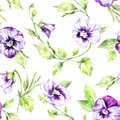 Seamless Pattern Pansies Flowers And Leaves. Summer And Spring Watercolor Illustration. Botanical Texture. Fresh And Stock Images - 109780774