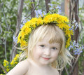 Girl  With Dandelion`s Diadem Royalty Free Stock Image - 10989036