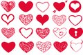 Vector Set Of Valentine`s Day Red Hearts On White Background Royalty Free Stock Image - 109854426