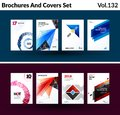 Mega Set Of Abstract Templates For Business, Trendy Colourful Triangles Stock Photo - 109861400
