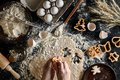 Close-up Of A Woman`s Hand With A Dough. The Woman Is Cutting A Cookie With A Cookie Cutter In The Shape Of A Little Royalty Free Stock Image - 109961996