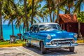 American Blue Chevrolet Classic Car With Silver Roof Parked On The Beach In Varadero Cuba - Serie Cuba Reportage Royalty Free Stock Photography - 110053477