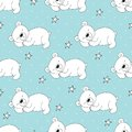 Cute Seamless Pattern With Funny Teddy Bear. Vector Illustration Stock Image - 110058691