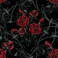 Seamless Abstract Floral Pattern. Red Roses On Black . Royalty Free Stock Image - 110260186