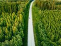 Aerial View From Above Of Country Road Through The Green Summer Forest In Summer Finland. Royalty Free Stock Photo - 110281875