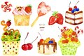 Watercolor Yummy Elements. Royalty Free Stock Photos - 110354558