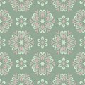 Floral Seamless Pattern. Olive Green Background With Pale Pink Flower Elements Stock Image - 110381471