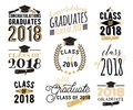 Graduation Wishes Overlays, Labels Set. Retro Graduate Class Of 2018 Badges Royalty Free Stock Photo - 110385245