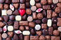 Assortment Of Fine Chocolate Candies, White, Dark, And Milk Chocolate Sweets Background. Copy Space. Top View. Stock Photography - 110389752