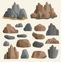 Stones Rocks In Cartoon Style Big Building Mineral Pile. Boulder Natural Rocks And Stones Granite Rough Illustration Royalty Free Stock Image - 110411846