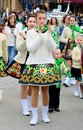 Woman Wear Ireland Costume On St. Patrick`s Day Parade Royalty Free Stock Images - 110426589